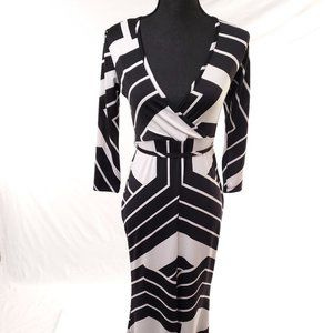 Venus Open Maxi Dress Black and White Small